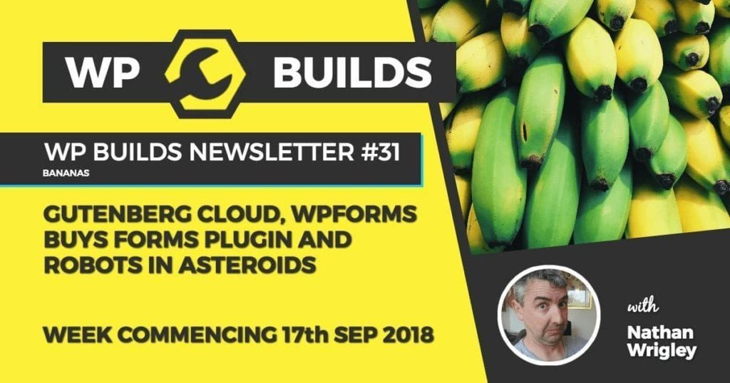 WP Builds Newsletter #31 - Gutenberg Cloud, WPForms buys forms plugin and robots on asteriods