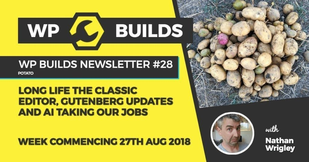 WP Builds Newsletter #28 - Long live the Classic Editor, Gutenberg updates and AI taking our jobs