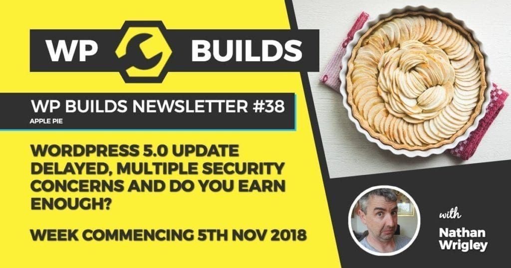WP Builds Newsletter #38 - WordPress 5.0 update delayed, multiple security concerns and do you earn enough?