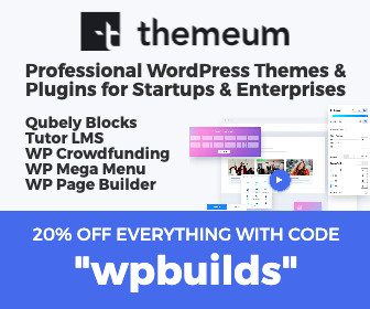 20% off Themeum products with WP Builds