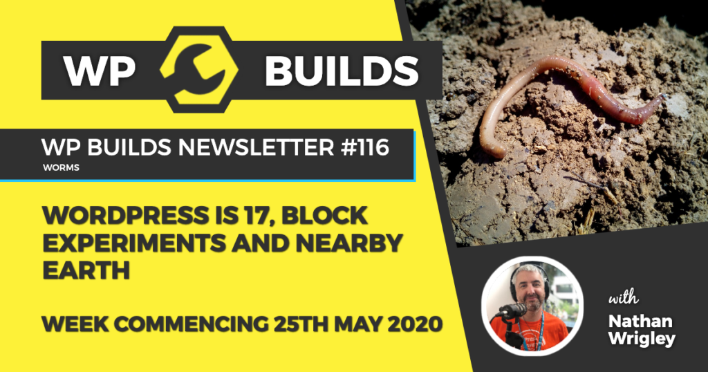 WordPress is 17, Block experiments and nearby Earth - WP Builds Weekly WordPress News #116
