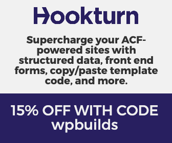 15% off Hookturn on the WP Builds Deals Page