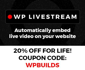 20% off WP Livestream on the WP Builds Deals Page
